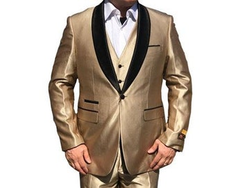 ALBERTO NARDONI Mens Formal Vested 1Button Shawl Suit Shiny Gold Tuxedo Jacket Blazer