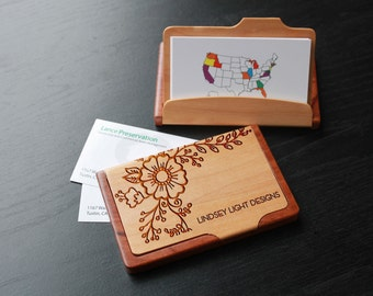 Items similar to laser engraved business card holders on etsy personalized business card holder custom business card holder engraved business card holder business colourmoves