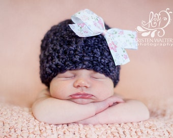 Newborn Purple Hat with Flower Pink bow...... Ready to ship