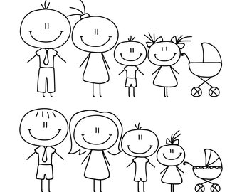 Stick Family SVG, Stick Family clipart, Stick figures svg, Digital file drawing,  Silhouette, SVG, Graphics,Illustration,Logo,Digital