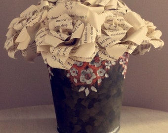 Bucket with Book Page flowers
