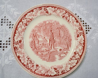 Vintage Currier and Ives Dinner Plate Home Sweet Home Pink Red Transferware Homer Laughlin Replacement USA PanchosPorch