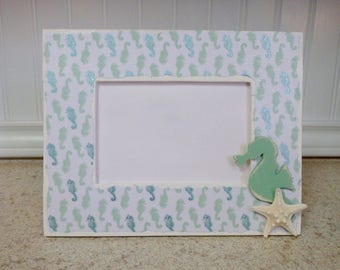 Decoupage Coastal Beach Picture Frame with Seahorse and Starfish
