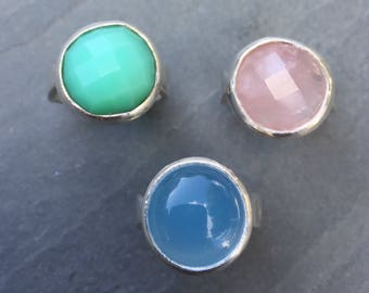 Pink rose quartz handmade sterling silver ring, blue chalcedony chunky bezel set ring, large semi precious gemstone silver rings.