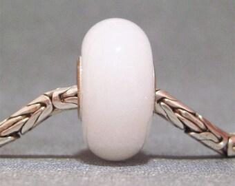 Glow in the Dark Pale Pink Handmade Lampwork Glass Bead Euro Bracelet Charm