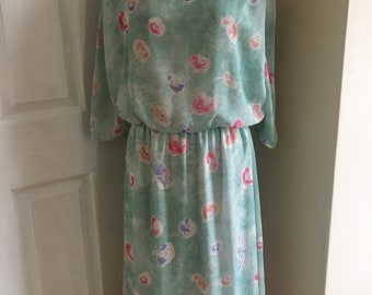 1980s Mint Green Floral Print Vintage Tea Dress from Canada for C&A - Size 12