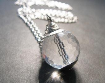 Crystal Quartz Necklace, Clear Crystal Necklace, Silver Necklace, Gemstone Point Necklace, Point Necklace, Quartz Jewelry, April Birthstone