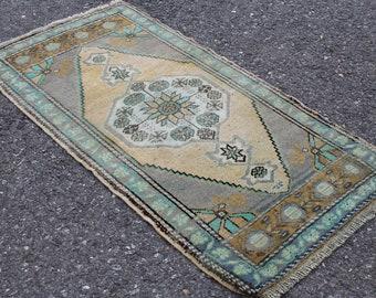 "Turkish Small Rug, Vintage Handmade Door Mat Oushak Rug, Anatolian Home Decor Tribal Area Rug Carpet, Turkish Bohemian Area Rug 3'7""x1'10"""