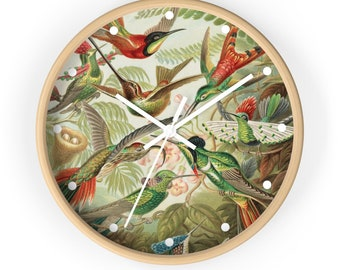 Illustration Of A Variety Of Hummingbirds by Ernst Haekel, Art Print Wall Clock