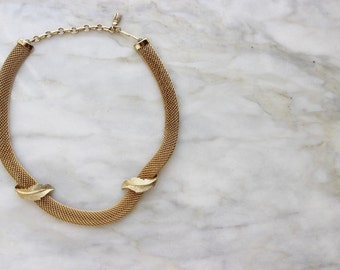 Vintage 1970s Gold Leaf Leafy Chain Necklace Collar 70s