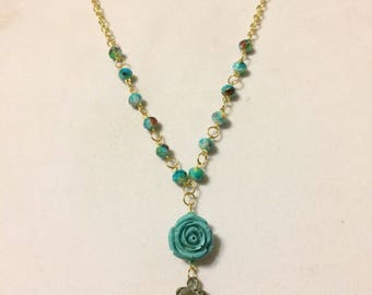 Western Boot Necklace with Turquoise Rose, Gold Chain Necklace, Beaded Necklace