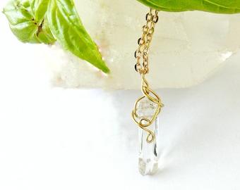 Quartz Point Pendant - Gold Charm Necklace - Wire Wrapped Pendant - Healing Crystal Necklace - Crystal Point Necklace - Delicate Necklace