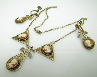 Antique Cameo Necklace & Earring Set. Sterling Silver Gold Vermeil Filigree. Drop Earrings Bib Style Necklace. Italian Italy Cameo Set.