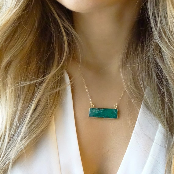 Emerald or Sapphire Quartz Necklace