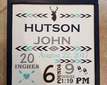 Hunting themed birth announcement