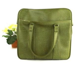 vintage luggage tote bag green tote bag gift mens women men womens handbag gift for her carryon gift for him