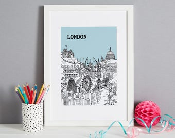 London Screen Print | Unique Christmas Gift | Londn Art | London Gift | First Anniversary Gift | Housewarming Gift | London Art | London