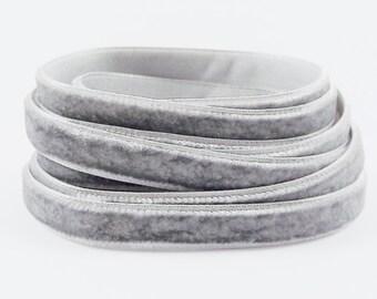 3 Meters of 10mm Light Gray Velvet Ribbon - 3.28 Yards - Made in Turkey