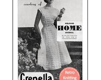 1950's Boat Neck Dress with Full Skirt Knitting Pattern  - PDF Instant Download