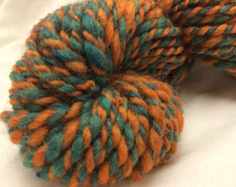 Handspun Wool Yarn, 2-ply, Teal/Pumpkin, Heavy Worsted, Approx 46 Yards