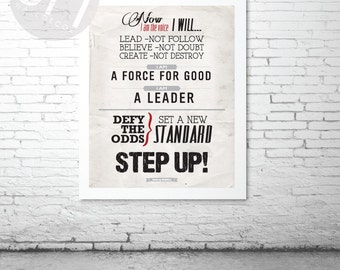 STEP UP! Tony Robbins motivational poster - Instant DOWNLOAD - Typography art print inspirational quote by GraphicsMesh