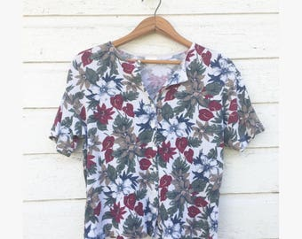 Sz Large 1990's Floral Top - Button Down - Ship 'N Shore