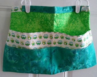 Green and Turquoise Owl Print Utility/Craft/Vender/Gardening Apron