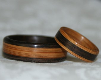 Wooden Rings with Inlay (using the woods of your choice) - Custom Set