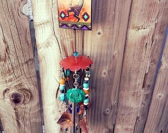 """Hand Crafted Kokopelli Wind-Chime, Hand Stamped Customizable 20"""" Personalized Theme Wind Chime, One of a Kind"""