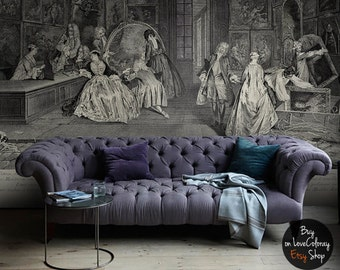 Vintage wallpaper, Drawing Wallmural, Vintage wall art, Victorian, Scenic wallpaper, Scene wall mural  #16