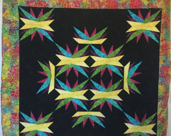 Wall Hanging, Art Quilt, Paper Pieced Lap Quilt, Lap quilt, Fabric Home Decor, Colorful Quilt, Black Quilt, Star Quilt