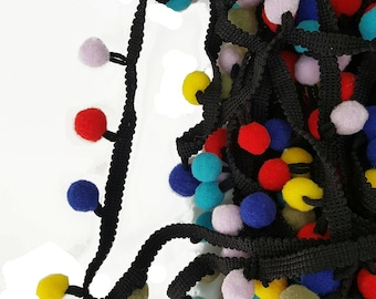 Colorful Pom pom Black Ribbon Trim, Decorative Trim for Embellishment