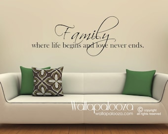Family Wall Decal   Family Wall Art   Family Where Life Begins And Love  Never Ends