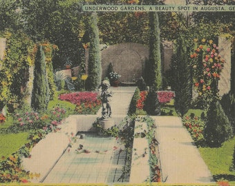 Vintage 1945 Linen Postcard of The Underwood Gardens in Augusta Georgia