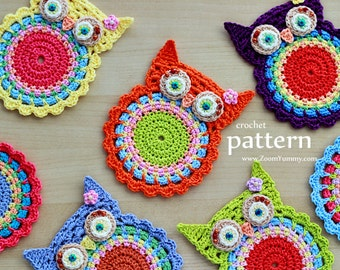 Crochet Pattern - Crochet Owl Coasters, Appliques - (Pattern No. 058) - INSTANT DIGITAL DOWNLOAD