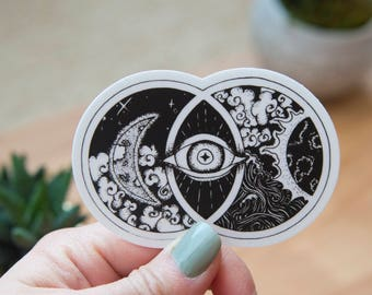 Vesica Piscis Art Sticker - Hand Drawn - Vinyl Stickers, black and white, energy, ancient symbol, crystal grid, boho, tarot, elements, magic