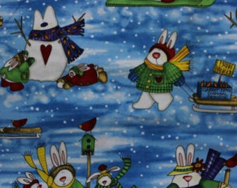 """Snow Bunnies print by Pat Yuille 42""""-44""""wide 100% cotton MM Fab Inc"""