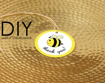 DIY Printable Baby Bee Party Favor Tags, Bee Day, Bee Thank You Labels, Bee Birthday, Bumble Bee Party, Honey Bee Baby Shower Tag Download