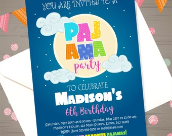 SLEEPOVER Party Invitation PAJAMA PARTY Invitation Slumber Party Invite Pajamas Birthday Invitation Pyjama Party Invitation Slumber Birthday