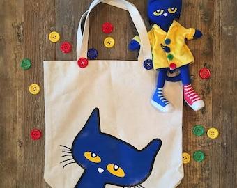 Pete the Cat Large Canvas Tote Book Bag, Grocery Bag, Unique Bag, Shoulder Bag, Canvas Tote