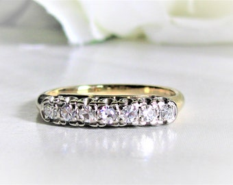 Vintage Diamond Wedding Band 14K Two Tone Gold Art Deco Wedding BandDiamond Wedding Ring Bridal Jewelry Stacking Anniversary Ring Size 7
