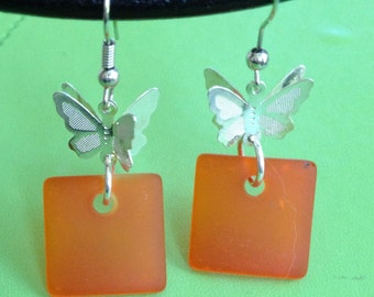 Sea Glass and Butterfly Earrings