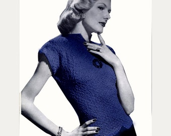 Cap Sleeve Top Knitted Pattern...  Vintage Knitting Pattern.. Instant Download PDF .... J239