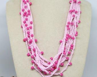 Pink Crochet Cotton Necklace, Crochet Necklace, Multi Strand Crochet Handmade Necklace , OOAK , Wearable Art Boho Jewellery
