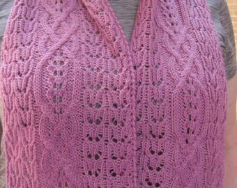 Knit Scarf Pattern:  Nisshin Cable Lace Turtleneck Scarf Knitting Pattern