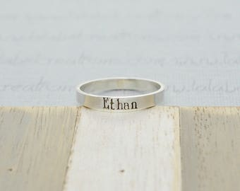Sterling Silver Hand Stamped Ring, Stacking Name Rings, Personalized Mothers Ring, Custom Name Ring, Childrens Name Ring Stackable Name Ring
