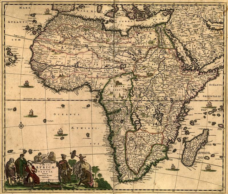 Africa 1688 antique world map Old World Map ancient maps