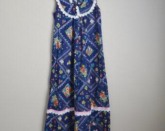 vintage 70s prairie hawaiian muumuu dress luau lounge maxi -- womens small