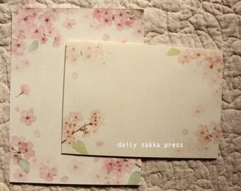 Cherry Blossom Letter Writing Set | Sakura Letter Set | Flower Letter Writing Set - 8 letter papers - 4 envelopes