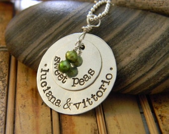 mommys sweet peas personalized family necklace